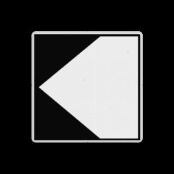 Scheepvaartbord Richtingaanduiding met zijborden. Zijborden of puntboorden worden links of rechts aan een hoofdteken toegevoegd. De begrenzing van een traject waarvoor een verbod of aanwijzing geldt, is door middel van deze tekens aan te geven. De hoogte van deze borden is gelijk aarde hoogte an het hoofdteken. Scheepvaartbord BPR F. 2a links - Richtingaanduiding met zijborden F. 2a scheepvaart, water, F2, F2a, bijkomende tekens, bijkomende borden, waterweg, waterwegen, scheepvaarttekens, verkeerstekens, richting, pijl