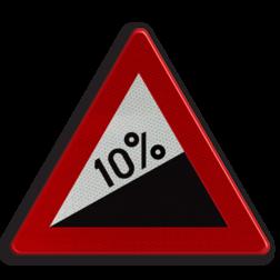 Verkeersbord A5: Steile helling (min. 7%). Verkeersbord België A5 - Steile helling A5 pas op, let op, helling, stijgend, omhoog, heuvel, berg, steil, RVV J07