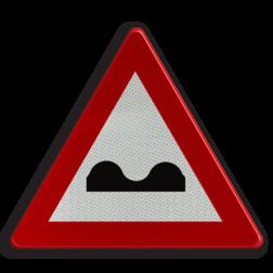 Verkeersbord A13: Overdwarse uitholling of ezelsrug Verkeersbord België A13 - Overdwarse uitholling A13 pas op, let op, hobbels in de weg, slechte weg, J1