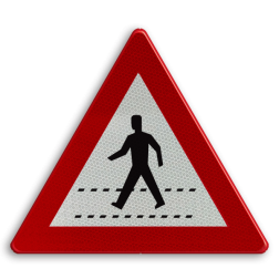 Verkeersbord A21: Oversteekplaats voor voetgangers Verkeersbord België A21 - Oversteekplaats voor voetgangers A21 pas op, let op, zebrapad, J22
