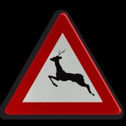 Verkeersbord A27: Doortocht van groot wild. Verkeersbord België A27 - Doortocht van groot wild A27 pas op, let op, herten, J27
