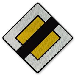 Verkeersbord B11 - Einde van voorrangsweg Verkeersbord België B11 - Einde van voorrangsweg B11 voorrangsweg, oranjebord, voorrang, vierkant bord, B2
