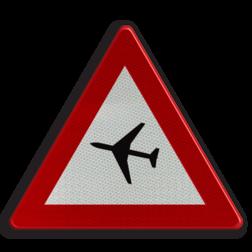 Verkeersbord A35: Overtocht van vliegtuigen op geringe hoogte Verkeersbord België A35 - Overtocht van vliegtuigen A35 pas op, let op, laagvliegend, vliegtuig , J30