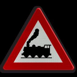 Verkeersbord A43: Overweg zonder slagbomen Verkeersbord België A43 - Overweg zonder slagbomen A43 pas op, let op, geen slagbomen, J11, spoorwegovergang