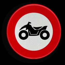 Verkeersbord C6: verboden toegang voor bestuurders van motorvoertuigen met vier wielen, geconstrueerd voor onverhard terrein, met een open carosserie, een stuur als op een motorfiets en een zadel. Verkeersbord België C6 - Verboden toegang voor bestuurders van motorvoertuigen met vier wielen C6 verbodsbord