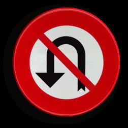 Verkeersbord C33: Vanaf het verkeersbord tot het volgend kruispunt, verbod te keren Verkeersbord België C33 - Verbod aan het volgend kruispunt af te slaan in de richting door de pijl aangegeven C33 verbodsbord, verboden, omkeren, pijl