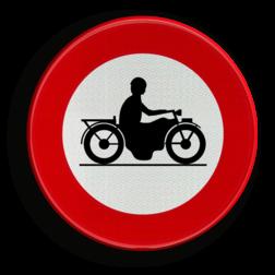 Verkeersbord C7: Verboden toegang voor bestuurders van motorfietsen. Verkeersbord België C7 - Verboden toegang voor bestuurders van motorfietsen C7 verbodsbord, verboden voor motor's, motors, motoren, c11