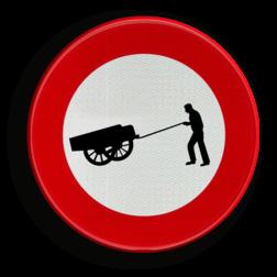 Verkeersbord C17: Verboden toegang voor bestuurders van handkarren Verkeersbord België C17 - Verboden toegang voor bestuurders van handkarren C17 verbodsbord, handkar, kar