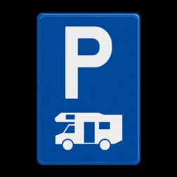 Verkeersbord E9h: Parkeren uitsluitend voor kampeerauto's Verkeersbord België E09h - Parkeren uitsluitend voor kampeerauto's E09h parkeerboorden, campers, vakantie, camping
