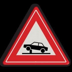 Verkeersbord Waarschuwing voor elektrische in- en uitschuifbare paal in de rijbaan (poller) waarmee toegankelijkheid van straten en gebieden kan worden geregeld Verkeersbord RVV J39 - Vooraanduiding verkeerspaal J39 poller, rampaal, hydraulische, obstakel, elektrische paal, waarschuwingsbord, beweegbaar