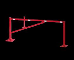 Draaiboom (SH3) 950mm - Bodemmontage met schoor en twee vangpalen hefboom, draaiboom, slagboom, draaipaal, draaipoort, oversteek, klaarover, school, zebrapad, inrit, uitrit