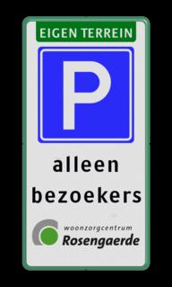 Verkeersbord eigen terrein parkeren alleen voor bezoekers in huisstijl Verkeersbord eigen terrein + logo Wit / witte rand, (RAL 9016 - wit), Eigen terrein, E04, foto's maken is, ten strengste, VERBODEN, Uw logo of beeldmerk