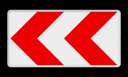 Verkeersbord Bochtschild met dubbele pijlfiguratie voor in een naar links afbuigende bocht. Verkeersbord RVV BB11l BB11l