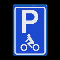 Verkeersbord Parkeerplaats motoren. Parkeergelegenheid alleen bestemd voor voertuigcategorie, of groep voertuigen, die op het bord is aangegeven Verkeersbord RVV E08m - motor - Parkeerplaats motoren E08m motor, parkeerplek, parkeerplaats, E8, E8m