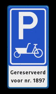 Verkeersbord RVV E08 bakfiets + ondertekst Parkeren, bakfiets, parkeerbord, eigen parkeerplek, school, E8