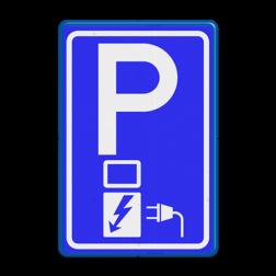 Verkeersbord Parkeerplaats met oplaad punt - Parkeergelegenheid alleen bestemd voor elektrische voertuigen Verkeersbord RVV E08o - oplaadpunt - BE04a BW101 SP19 - autolaadpunt, autolaadpunt, oplaadpalen, oplaadpaal, BE04, elektrische, BW101, laadpunt, oplaadpunt, laadpaal, oplaadpalen, oplaadbaar