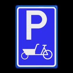 Verkeersbord RVV E08 bakfiets Parkeren, bakfiets, parkeerbord, eigen parkeerplek, school, E8