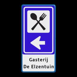 Verkeersbord RVV BW101_SR02 + tekst restaurant, mes en vork, pijlbord, eten, BW101, SR2, routebord, bewegwijzering, verwijsbord, bewegwijzeringsbord
