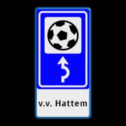 Bewegwijzering Sport + tekst   BW101 + pijlfiguratie Wit / blauwe rand, (RAL 5017 - blauw), BEW101 rotonde links, Bungalow, Bungalopark, De Walnoot