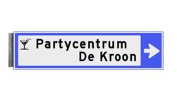 Bewegwijzeringsbord - ENKELZIJDIG RECHTS - 800x200x15mm blauw/wit 2 regelig en pijl dubbelzijdig, verwijs, pijlbord