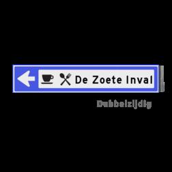 Bewegwijzeringsbord - DUBBELZIJDIG - 800x150x15mm blauw/wit 1 regelig en pijl dubbelzijdig, verwijs, pijlbord