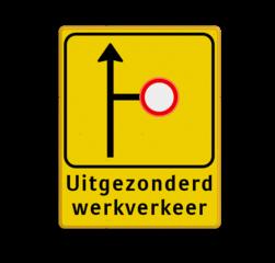 Verkeersbord WIU geel/zwart W017L/R - ondertekst Tekstbord, WIU bord, tijdelijke verkeersmaatregelen, werk langs de weg, omleidingsborden, tijdelijk bord, werk in uitvoering, 3 regelig bord