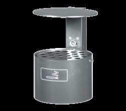 Asbak 4 liter Ø200mm - vlakke wand of paalmontage + regenkap Asbak, roken, afval, sigaretten, peuken, kap, deksel, bedekking
