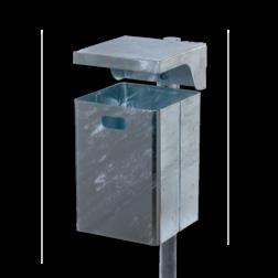 Prullenbak 40L Rechthoekig (Verzinkt staal) + sleutel Prullenbak, Rechthoekig, Afval, Afvalbak,