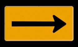 Pijlbord - OB501t - Pijl links/rechts - Werk in uitvoering Fluor geel / gele rand, (RAL 1023 - geel), Hier uw eigen, tekstregels, klik op bewerken >