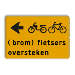 Tekstbord - (brom)fietsers oversteken - Werk in uitvoering Tekstbord, WIU bord, tijdelijke verkeersmaatregelen, werk langs de weg, omleidingsborden, tijdelijk bord, werk in uitvoering, 3 regelig bord
