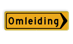 Omleidingsbord - T102r - Omleiding - Werk in uitvoering tijdelijk, verkeersbord, werk, uitvoering, wegwerkzaamgheden, omleiding, bord