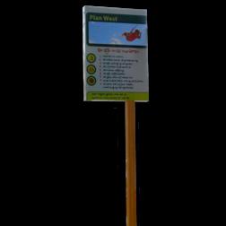 Sign2Wood - RVS Informatiepaneel op FSC paal Sign2Wood, houten paal, design verkeersbord, roestvrij staal, RVS verkeersbord