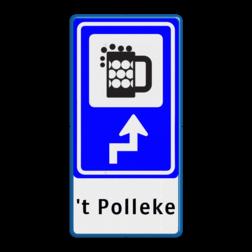 Bewegwijzering Horeca + tekst | BW101 + pijlfiguratie Wit / blauwe rand, (RAL 5017 - blauw), BEW101 rotonde links, cafe