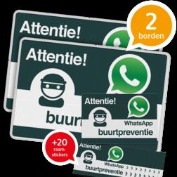 WhatsApp Buurtpreventie SET - 2 borden + 20 stickers - L209wa actie, pakket, aanbieding, whatsapp, buurtpreventie