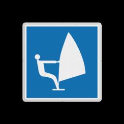 Scheepvaartbord Zeilplanken toegestaan. Teken E.20 wordt vooral gebruikt om het einde van een met teken A.17 ingesteld verbod aan te geven. Scheepvaartbord BPR E.20 - Zeilplanken toegestaan E.20 schip, pleziervaart, watersport, zeilen, surfen, water, E20, aanwijzingstekens, aanwijzingsborden, waterweg, waterwegen, scheepvaarttekens, verkeerstekens,