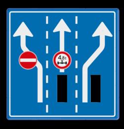 Route-, informatiebord 1180x1180 met uitsparingen voor 2x verkeerslicht - 2xø100mm Van der Kamp, betonmortel, logo, pijlbord