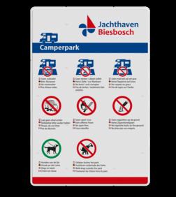 Informatiebord - Camperplaats + uw eigen opdruk logobord, eigen ontwerp, kampeerplaats, camper, jachthaven de biesbosch, jachthaven