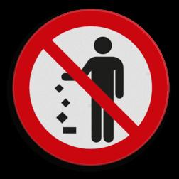 Product Verboden afval op de grond gooien. (geen officieel NEN-EN-ISO pictogram) Pictogram - Geen afval op de grond gooien afval, rommel, verbod, grond, gooien, pictogram, symbool, teken, NEN, 7010,  reflecterend, sticker, klasse 1, klasse 3, vlak, bordje, paneel, kunststof, aluminium, veiligheid, verbod,