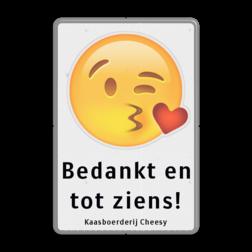 Informatiebord Emoji met eigen tekst Wit / grijze rand, (RAL 7042 - grijs), Emoji-kus-hartje, Bedankt en, tot ziens!, Kaasboerderij Cheesy
