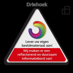 Informatiebord driehoek reflecterend + eigen opdruk logobord, eigen ontwerp, speciale borden, driehoek, full colour, duurzaam, aluminium, reflecterend
