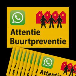 Verkeersbord sticker L209b Attentie Buurtpreventie - WhatsApp - geel (Set 10 stuks) Whats App, WhatsApp, watsapp, preventie, attentie, OV0495, L209, Buurt