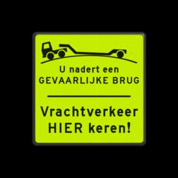 Informatiebord - vrachtverkeer hier keren Fluor geel-groen / zwarte rand, (RAL 9005 - zwart), Tekst