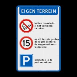 Verkeersbord Parkeren + eigen tekst Verkeersbord 400x600mm  Roken verboden - RVV A01-E04 + tekstregels parkeerbord, eigen terrein, fluor, geel, RVV E04, parkeren,  vrij invoerbare tekst, E4