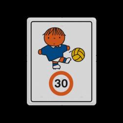 Dick Bruna - Attentiebord Snelheid - jongen met voetbal Nijntje, schoolzone, vvn, a1-30, snelheidsbord, 30 kilometer, Miffy