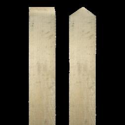 Paal eikenhout - 2500x100x100mm Paal, Hout, 2500x100x100mm, diamantkop, schuin afgezaagde kop, Europees eiken