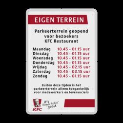 Informatiebord reflecterend - met eigen openingstijden en in huisstijl logobord, eigen ontwerp, KFC, speciale borden, mc Donalds, Burger king