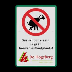 Informatiebord verboden honden uit te laten + eigen tekst en logo eigen ontwerp