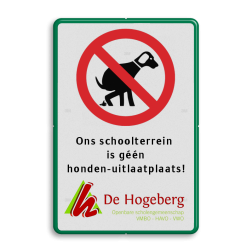 Verkeersbord verboden honden uit te laten + eigen tekst en logo