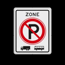 Verkeersbord ZONE parkeerverbod voor vrachtauto's en bussen. Autobus is : motorvoertuig, ingericht voor het vervoer van meer dan acht personen, de bestuurder daaronder niet begrepen Vrachtauto is : motorvoertuig, niet ingericht voor het vervoer van personen, waarvan de toegestane maximum massa meer bedraagt dan 3500 kg Verkeersbord RVV E201zb E201 vrachtautos verboden, niet parkeren, geen bussen, zone, vrachtwagens, E201