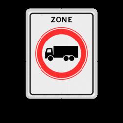 Verkeersbord RVV C07zb - zone - Gesloten voor vrachtauto's Zonebord , A01-30, zone, gesloten verklaring, verboden voor vrachtauto's, vrachtwagens